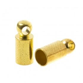 DQ eindkap goud (geschikt voor 3mm leer/koord)