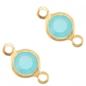 DQ facet tussenzetsel 6mm gold canton aqua blue opal