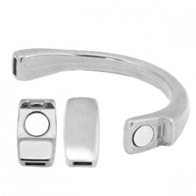DQ halve metalen armband met magneetslot zilver (voor 5mm plat leer) 60x10mm