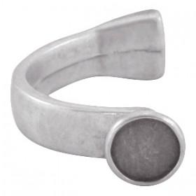 DQ halve metalen armband zilver (voor 4mm rond leer en 12mm polaris cabochon) 54x32mm