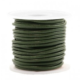 DQ leer rond 2mm army green metallic 1 meter