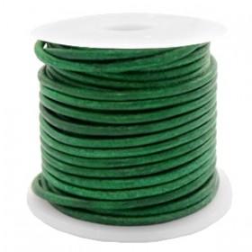 DQ leer rond 2mm vintage classic green 1 meter