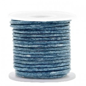 DQ leer rond 2mm vintage cool blue metallic 1 meter