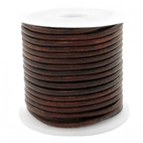 DQ leer rond 2mm vintage dark peacan brown 1 meter