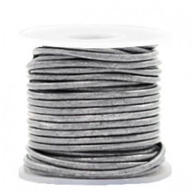 DQ leer rond 2mm vintage silver grey metallic 1 meter