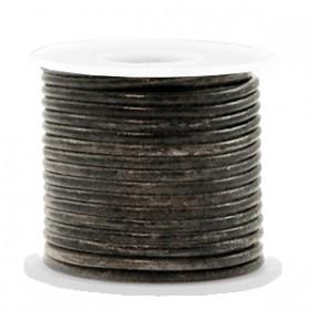 DQ leer rond 3mm vintage black metallic 1 meter