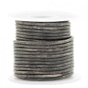 DQ leer rond 3mm vintage stormy grey metallic 1 meter