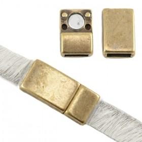 DQ magneetslot 17x8mm brons (voor 5 en 6mm plat leer/koord)