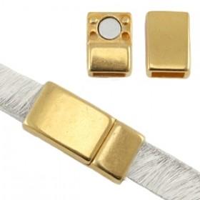 DQ magneetslot 17x8mm goud (voor 5 en 6mm plat leer/koord)