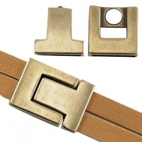 DQ magneetslot 33x24mm brons (voor 20mm plat leer / koord)