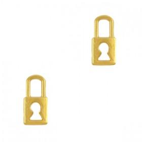 DQ metalen bedel slot goud 9x4mm