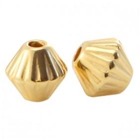 DQ metalen kraal cone met streepjes 4mm goud