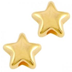 DQ metalen kraal ster 6x3.6mm goud (nikkelvrij)