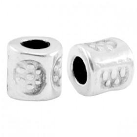 DQ metalen kraal tube 3x3mm zilver