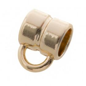 DQ metalen schuiver rond met oog goud 8x8mm (voor rond leer / koord tot 5mm)