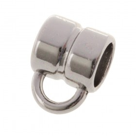 DQ metalen schuiver rond met oog zilver 8x8mm (voor rond leer / koord tot 5mm)