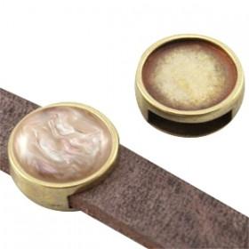 DQ metalen schuiver / slider rond brons (voor polaris cabochon 12mm)