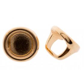 DQ metalen schuiver / slider rond rosé 16x12mm (voor Polaris cabochon 12mm)