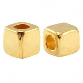 DQ metalen tube vierkant 3mm goud (nikkelvrij)