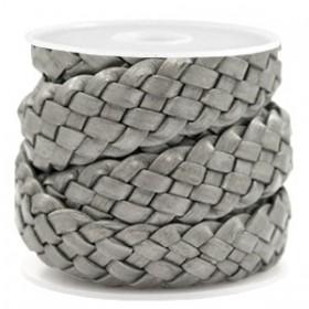 DQ plat gevlochten leer 20mm grey metallic per 20cm