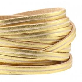 DQ plat leer 5mm goud beige stripe per 20cm