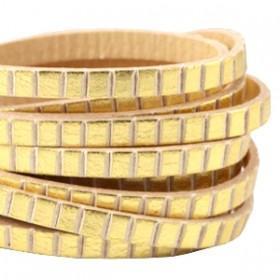 DQ plat leer 5mm goud beige stripes per 20cm