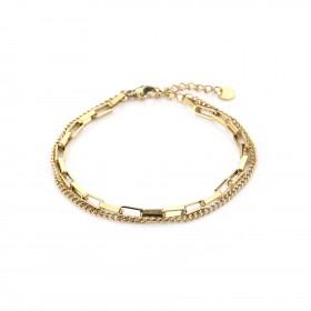 Dubbele schakelarmband stainless steel goud (16+3cm)