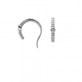 Karma earcuff zirconia middle dot 925 Sterling Silver (1piece)