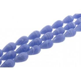 Edelsteen kraal agaat druppel lichtblauw facet geslepen 20x12mm
