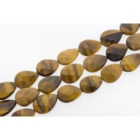 Edelsteen kraal tijgeroog druppel facet geslepen 18x13mm