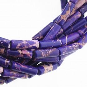 Edelsteen / natuursteen jaspis tube kralen rond 13x4mm purple