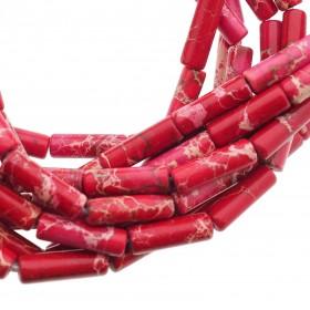 Edelsteen / natuursteen jaspis tube kralen rond 13x4mm rood