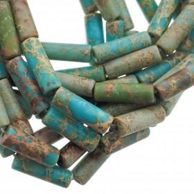 Edelsteen / natuursteen jaspis tube kralen rond 13x4mm turquoise bruin