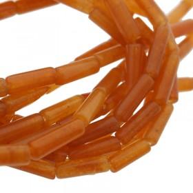 Edelsteen / natuursteen rode aventurijn tube kralen rond 13x4mm bruin