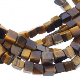 Edelsteen / natuursteen tijgeroog cube kralen vierkant 4mm bruin