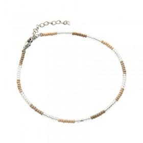 Enkelbandje kralen Biba kleurenmix beige zilverkleurig