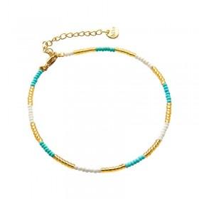 Enkelbandje kralen Biba kleurenmix blauw 2 goudkleurig