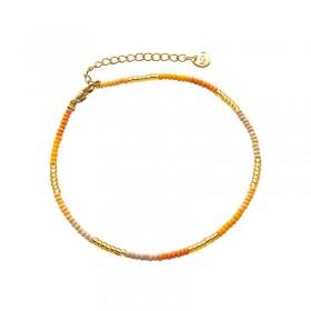 Enkelbandje kralen Biba kleurenmix geel goudkleurig