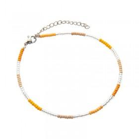 Enkelbandje kralen Biba kleurenmix geel zilverkleurig