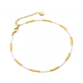 Enkelbandje kralen Biba kleurenmix wit goudkleurig