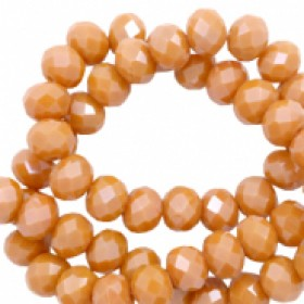 Facet glaskraal bronze orange-pearl shine coating 4x3mm