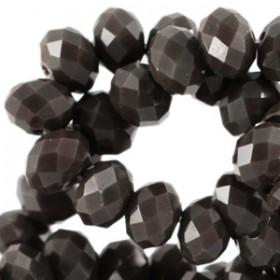 Facet glaskraal dark olivo brown 4x3mm