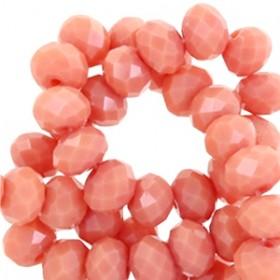 Facet glaskraal light coral rose 6x4mm