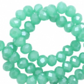 Facet glaskraal Light emerald green-pearl shine coating 4x3mm
