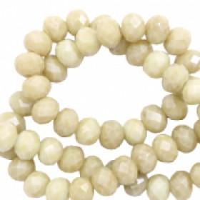 Facet glaskraal light green beige-pearl shine coating 4x3mm