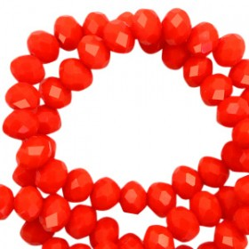 Facet glaskraal living coral red-pearl shine coating 6x4mm