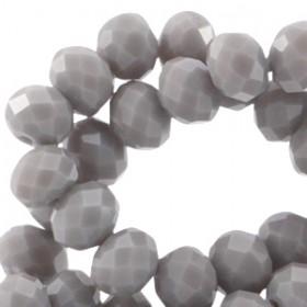 Facet glaskraal metal grey opaque 4x3mm