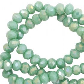 Facet glaskraal nile green-diamond shine coating 4x3mm