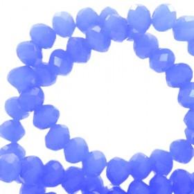 Facet glaskraal Provence blue-pearl shine coating 6x4mm