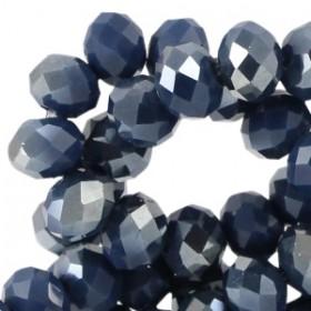 Facet glaskraal royal blue (half diamond gold coating) 4x3mm